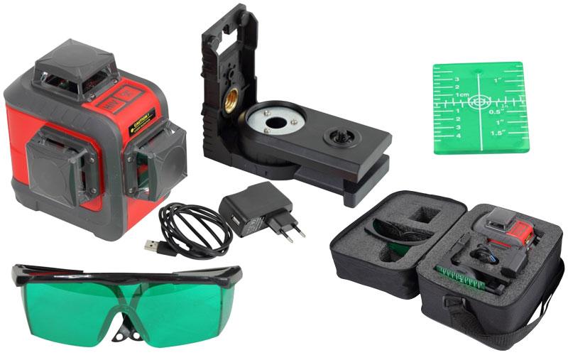 Poziomica laserowa laser linowy 3 x 360 3D Proline zielony, zasięg 20 m 15169